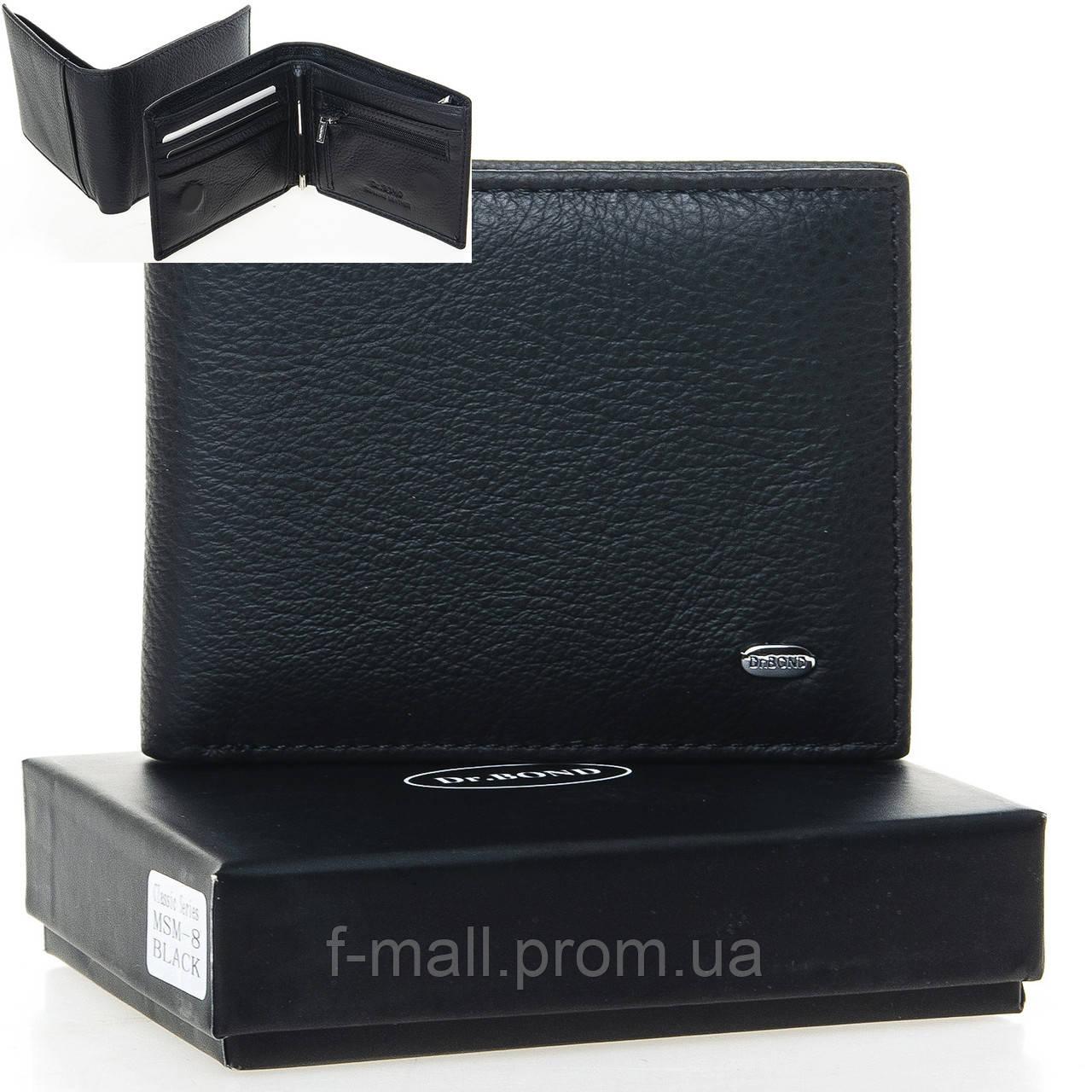 Кошелек портмоне  мужской кожаный на магните с зажимом DR. BOND черный (05-161)