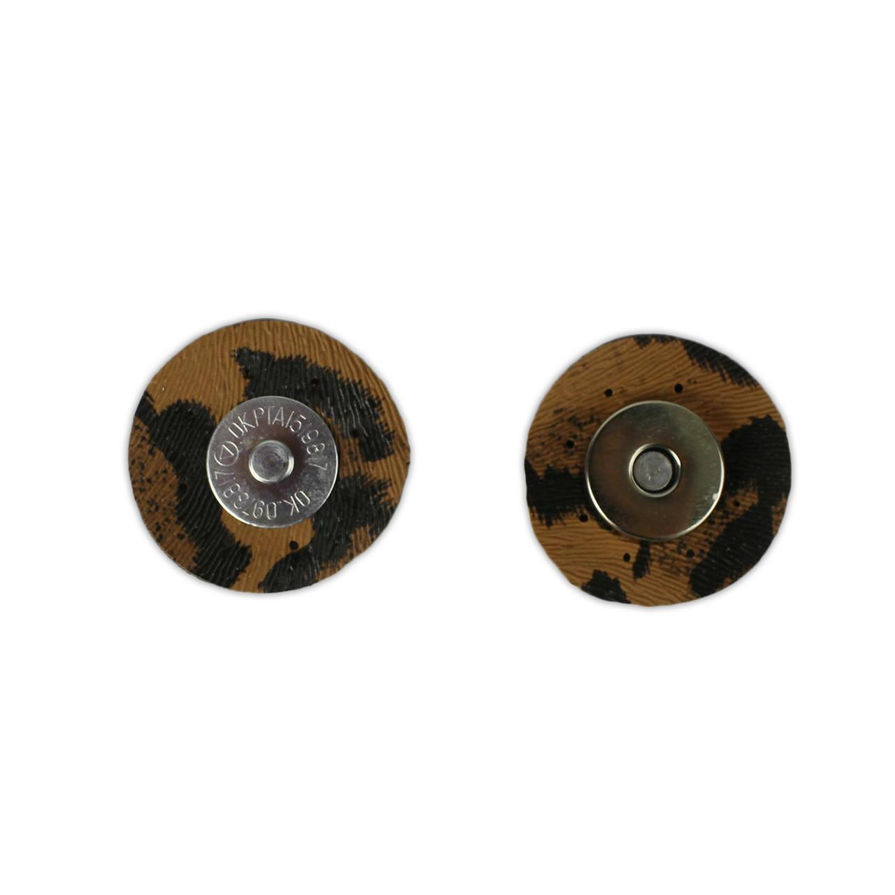 Кнопка магнітна 3,5 см пришивная на екошкірі Тигровий