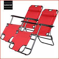 Набор Шезлонгов раскладных Bonro 153 см (2 шт) (красный) Раскладные кресла Пляжные Тканевые Лежаки Для сада