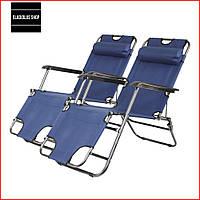 Набор Шезлонгов раскладных Bonro 153 см (2 шт) (синий) Раскладные кресла Пляжные Тканевые Лежаки Для сада