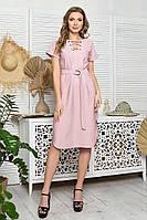 Пудровое женское платье из льна прямое с поясом