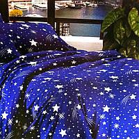 """""""Звезды"""" синие постельное белье 3D эффект полуторное 140/210 см, ткань бязь"""