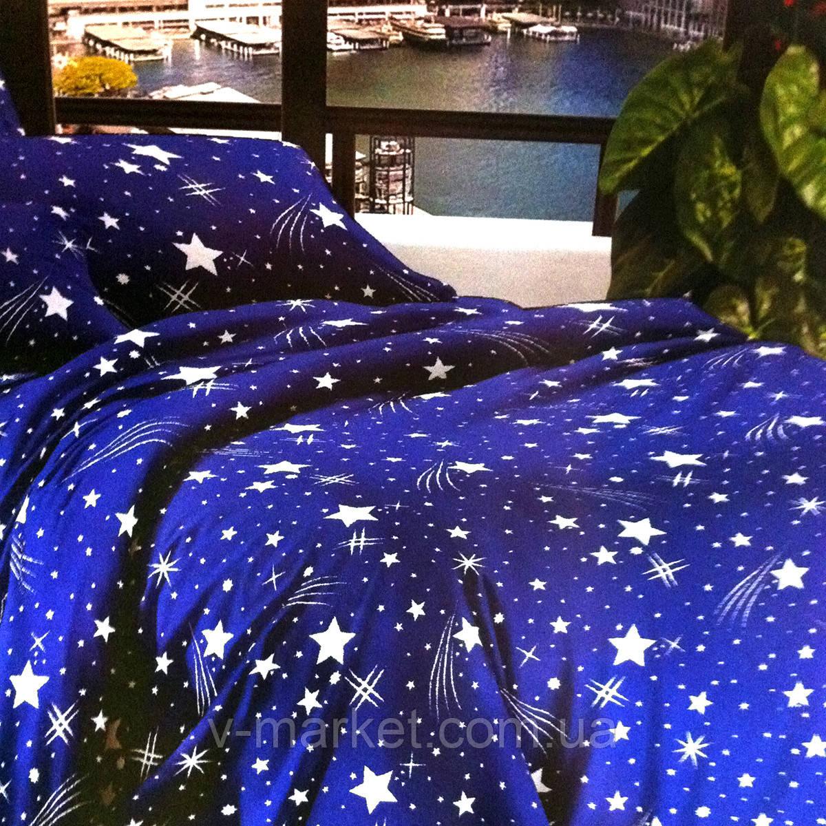 """""""Зірки"""" сині постільна білизна 3D ефект полуторна 140/210 см, тканина бязь"""