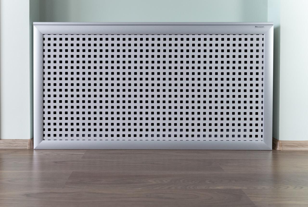 Короб на батарею отопления Decorpaneli дизайн Лофт, цвет алюминий