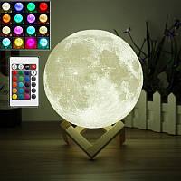Настольный светильник ночник луна 3D 12см с пультом
