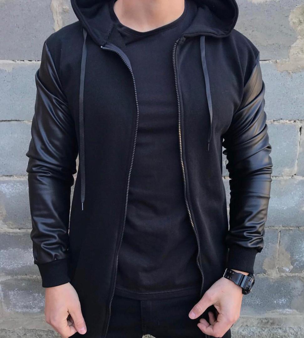 Коротка чоловіча куртка-бомбер з рукавами з еко-шкіри, легка куртка з капюшоном весна-осінь