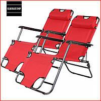 Набор Шезлонгов раскладных Bonro 178 см (2 шт) (красный) Раскладные кресла Пляжные Тканевые Лежаки Для сада