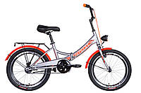 """Велосипед 20"""" Formula SMART з ліхтарем 2021 (сірий з оранжевим (м))"""