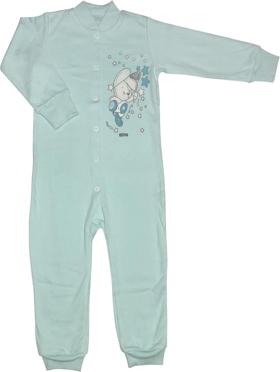 Человечек для малышей рост 86 1-1,5 года на мальчика девочку слип с отрытыми ножками трикотажный бирюзовый