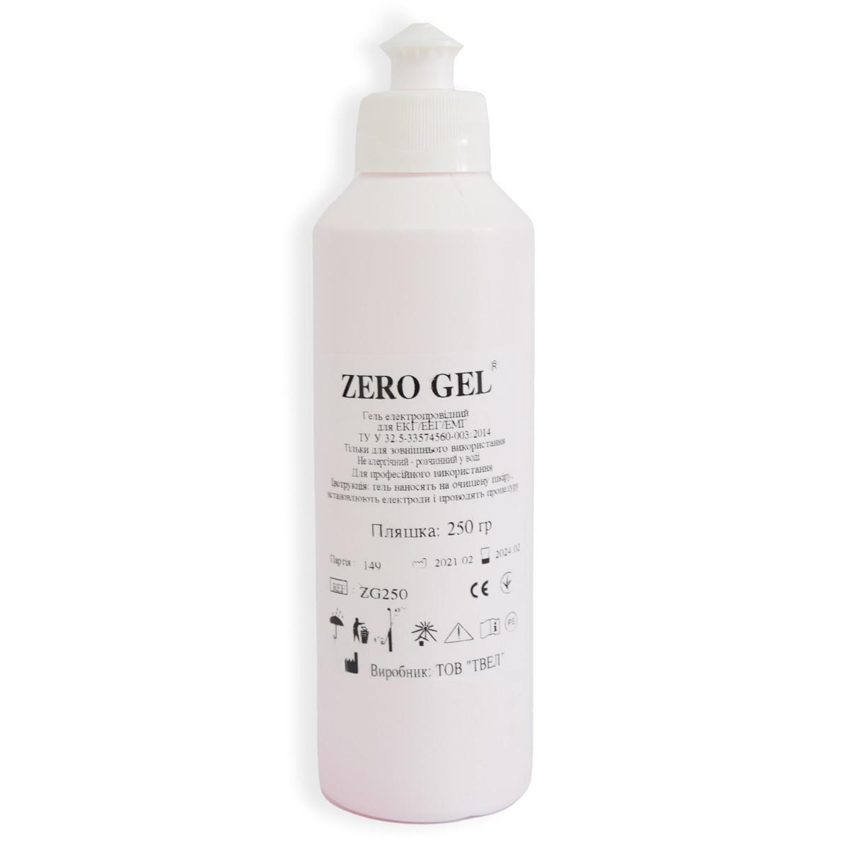 Контактний електродний Zero gel (250 мл) струмопровідний гель для миостимулятора, ЕКГ, УЗД (токопроводящий)