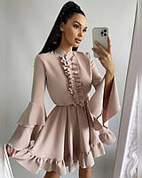 Платье мини Нежность женское с расклешенными рукавами и пышной юбкой с оборками Smf2144, фото 1