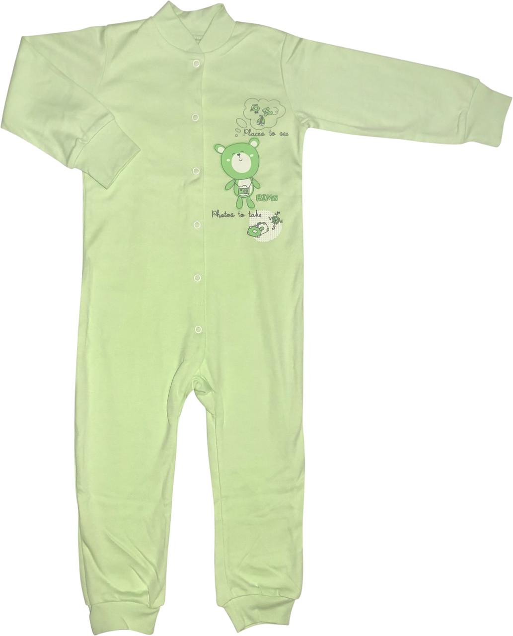 Чоловічок для малюків зростання 98 2-3 роки на хлопчика дівчинку сліп з відритими ніжками трикотажний салатовий