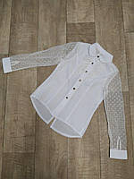 Блуза для девочки белая с сеткой в горох