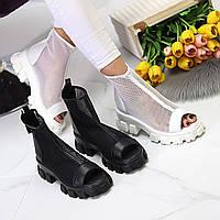 Женские летние ботинки полу сапоги сетка белые чёрные