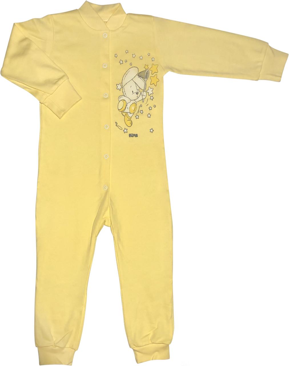 Человечек для малышей рост 92 1,5-2 года на мальчика девочку слип с отрытыми ножками трикотажный жёлтый