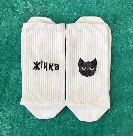 Шкарпетки Високі Жіночі Чоловічі City-A My Sox Жінка Кішка Білі 36-41, фото 2