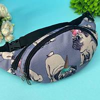 Детская сумка на пояс или на плечо бананка для девочек Собака французский бульдог