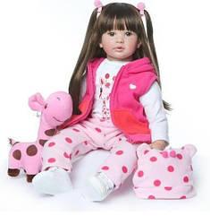 Силіконова колекційна лялька Reborn Doll дівчинка Лія 60 см 174, КОД: 1639840