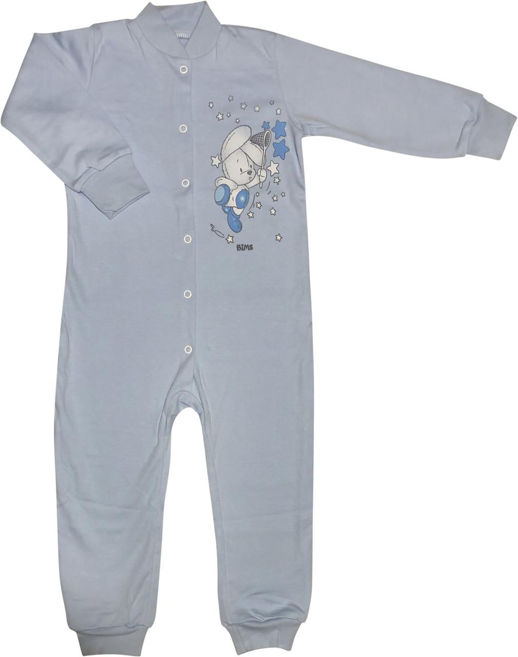 Чоловічок на хлопчика ріст 92 1,5-2 роки для малюків сліп з відритими ніжками трикотажний інтерлок блакитний