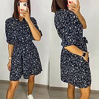 Ніжне жіноче плаття з софта в квітковий принт з рукавами ліхтарик (Норма і батал), фото 7