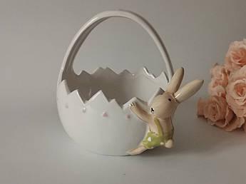 Пасхальный декор. Кашпо керамическое корзинка с зайкой.