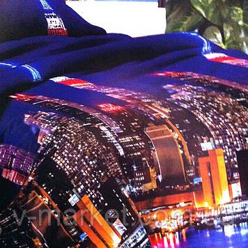 """""""Нічне місто"""" постільна білизна бязева з 3D ефектом євро розмір 190/210, нав-ки 70/70, тканина бязь"""