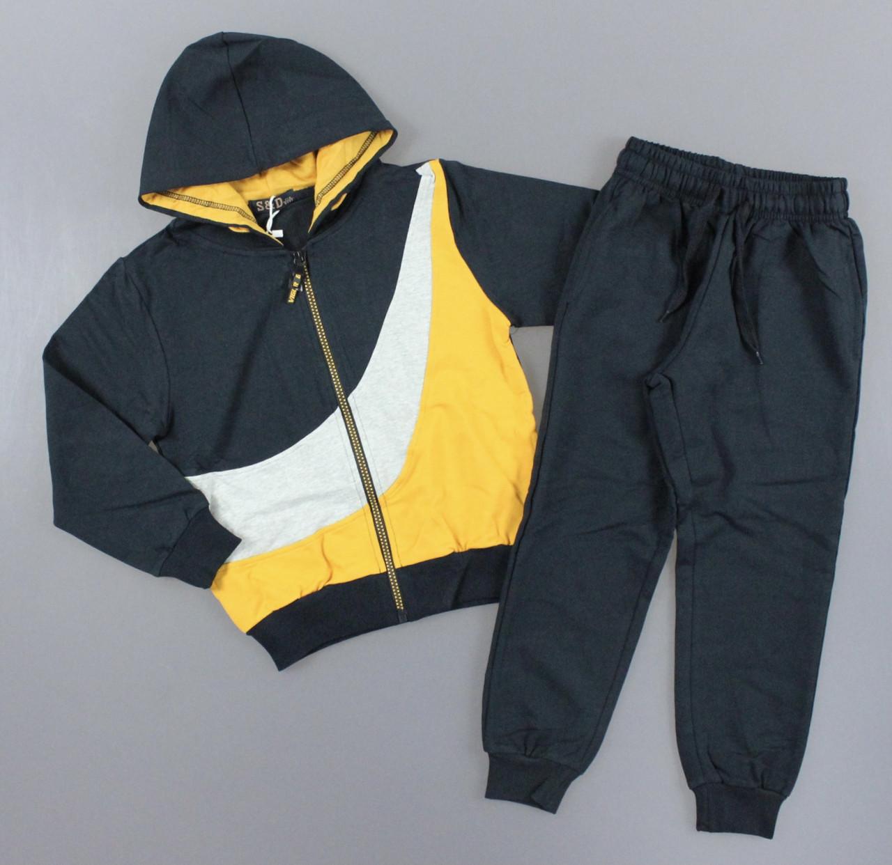 {есть:116,122,128,134,140,146} Трикотажный костюм - двойка для мальчиков S&D,  Артикул: CH6207-жёлтый [116]