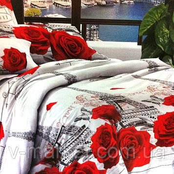 """""""Париж з квітами"""" біле постільна білизна бязева з 3D ефектом євро розмір 190/210, нав-ки 70/70, тканина бязь"""