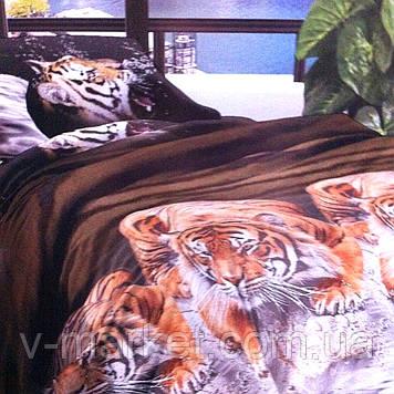 """""""Тигр"""" коричневе постільна білизна бязева з 3D ефектом євро розмір 190/210, нав-ки 70/70, тканина бязь"""