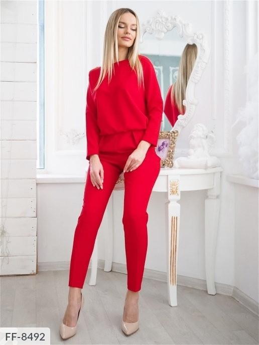 Брючный костюм  женский однотонный повседневный с кофтой  на резинке р-ры 42-48 арт. 130
