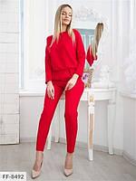Брючный костюм  женский однотонный повседневный с кофтой  на резинке р-ры 42-48 арт. 130, фото 1
