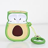 3D чохол для бездротових навушників Apple AirPods з карабіном Авокадо, зелений, фото 3