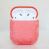 Чохол з блискітками для бездротових навушників Apple AirPods з карабіном Персиковий, фото 2