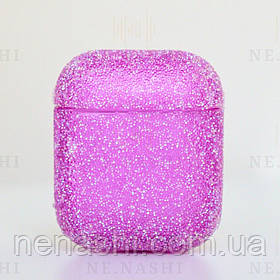 Чехол с блестками для беспроводных наушников Apple AirPods с карабином Розовый