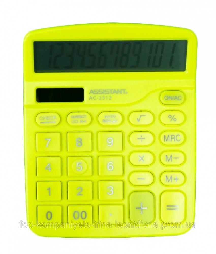 Калькулятор электронный ASSISTANT 12-разрядный желтый (AC-2312)