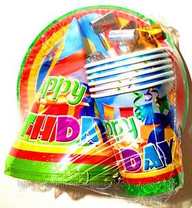 """Набір """"Happy birthday"""" (4 предмета по 6 шт)"""