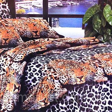 """Постільна білизна """"Леопард"""" бязева з 3D ефектом євро розмір 190/210, нав-ки 70/70, тканина бязь"""