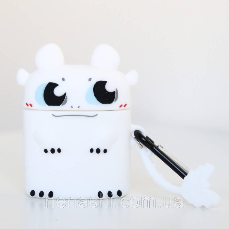 Чехол силиконовый для беспроводных наушников Apple AirPods 2 Белая фурия, Белый