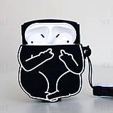 Чехол силиконовый для беспроводных наушников Apple AirPods 2 Cat with fuck, Черный, фото 2
