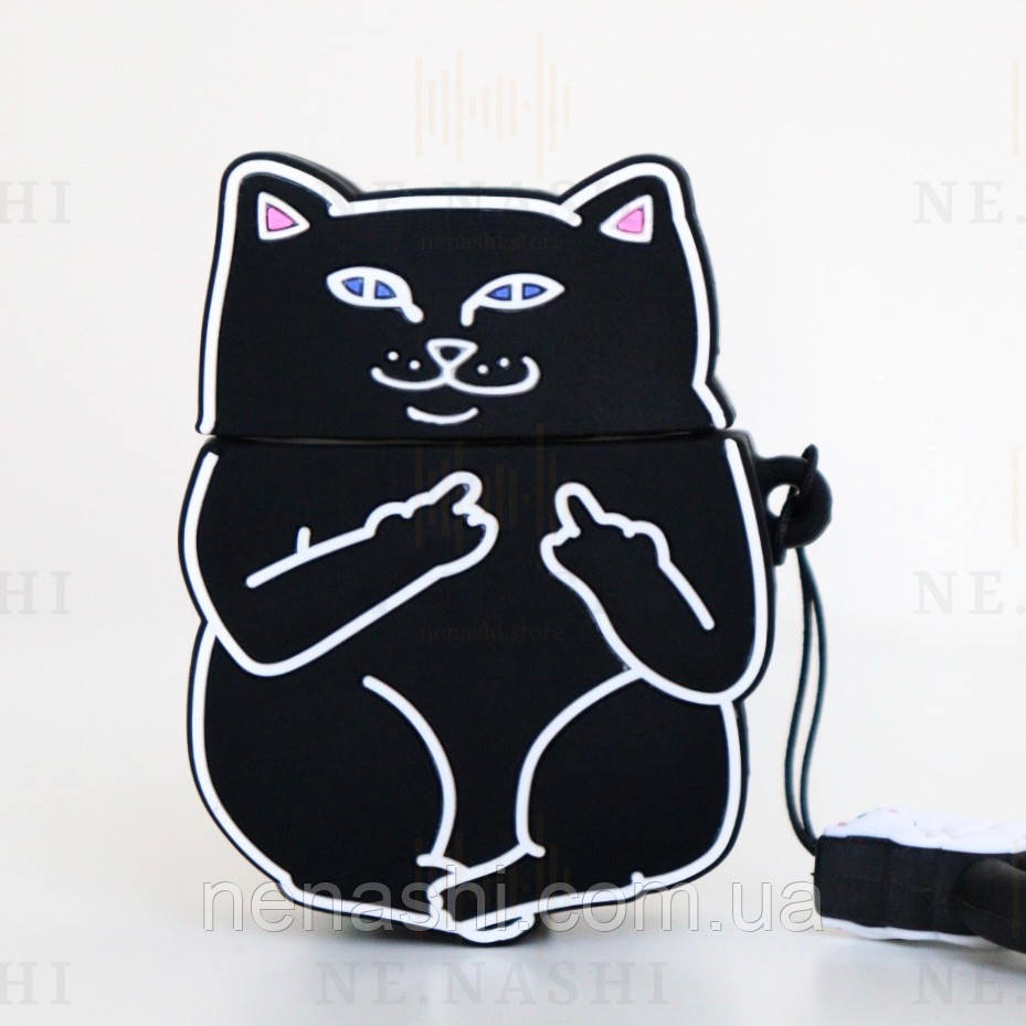 Чохол силіконовий для бездротових навушників Apple AirPods 2 Cat with fuck, Чорний