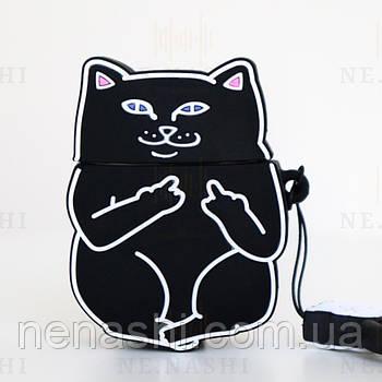 Чехол силиконовый для беспроводных наушников Apple AirPods 2 Cat with fuck, Черный