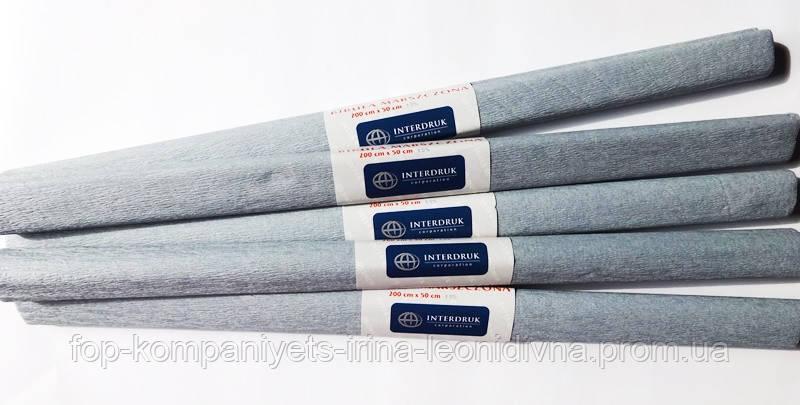 Бумага крепированная INTERDRUK (50см*200см), серый №29 (10шт/уп)