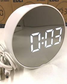 Часы зеркальные электронные LED настольные с подсветкой и термометром VST DT-6505 Mirror белый