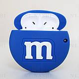 Чехол силиконовый для беспроводных наушников Apple AirPods 2 M&M`s, Синий, фото 2