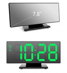 Электронные настольные зеркальные LED часы UKC DS-3618L зеленая подсветка черный корпус