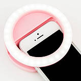 Світлодіодне селфи-кільце Selfie Ring Light з USB-зарядкою 3 режими рожеві, фото 3