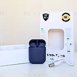 Беспроводные bluetooth-наушники V99-Touch с кейсом, темно-синий, navy blue, фото 2