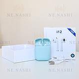 Навушники безпровідні i12. Блакитні, фото 2