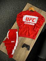 Стильный мужской спортивный костюм красный без капюшона, свитшот и штаны весна/осень Турция