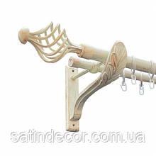 Карниз для штор металевий АРЕЗО подвійний 25+19мм РЕТРО 2.0м Біле золото